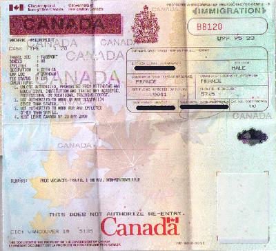 visa vacances travail canada dans passeport